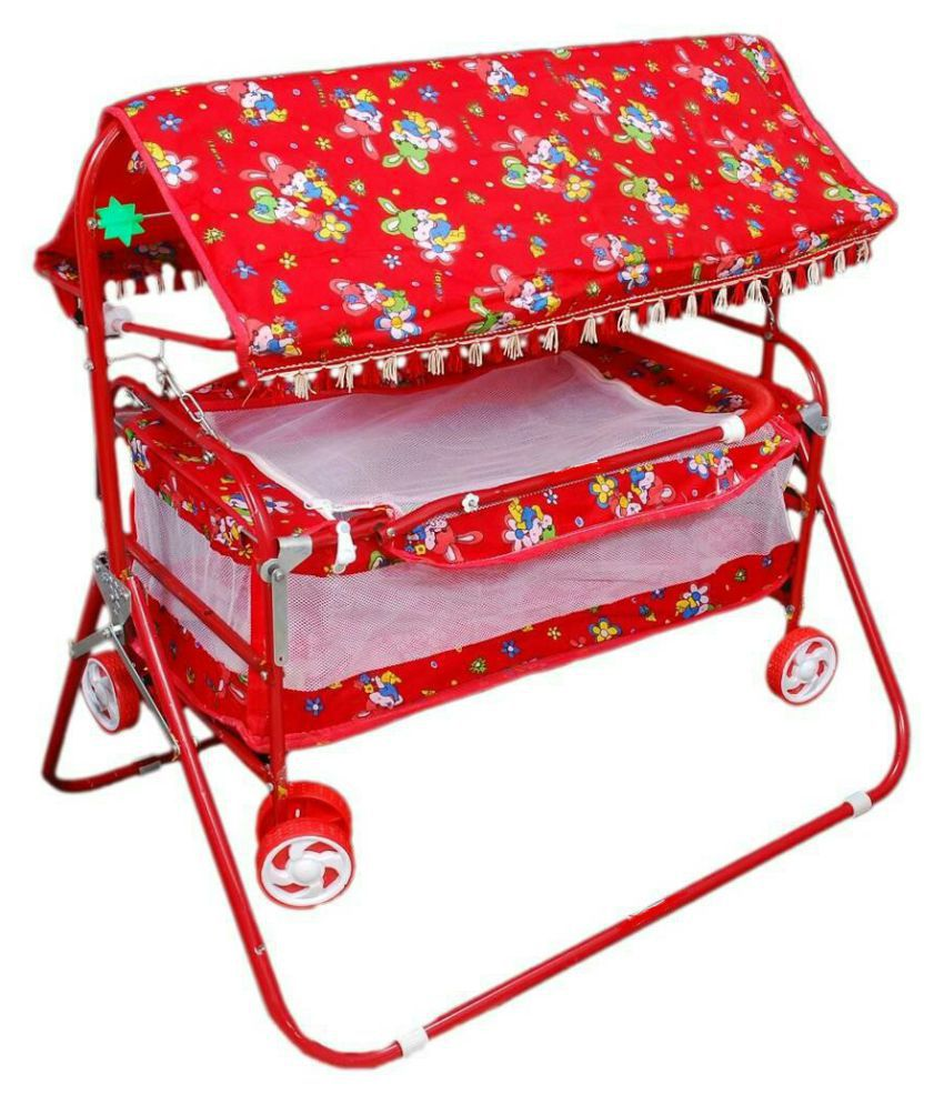 Shivaay Trading Co. Red Baby Cum Cot Stroller & Bassinet With Hood.