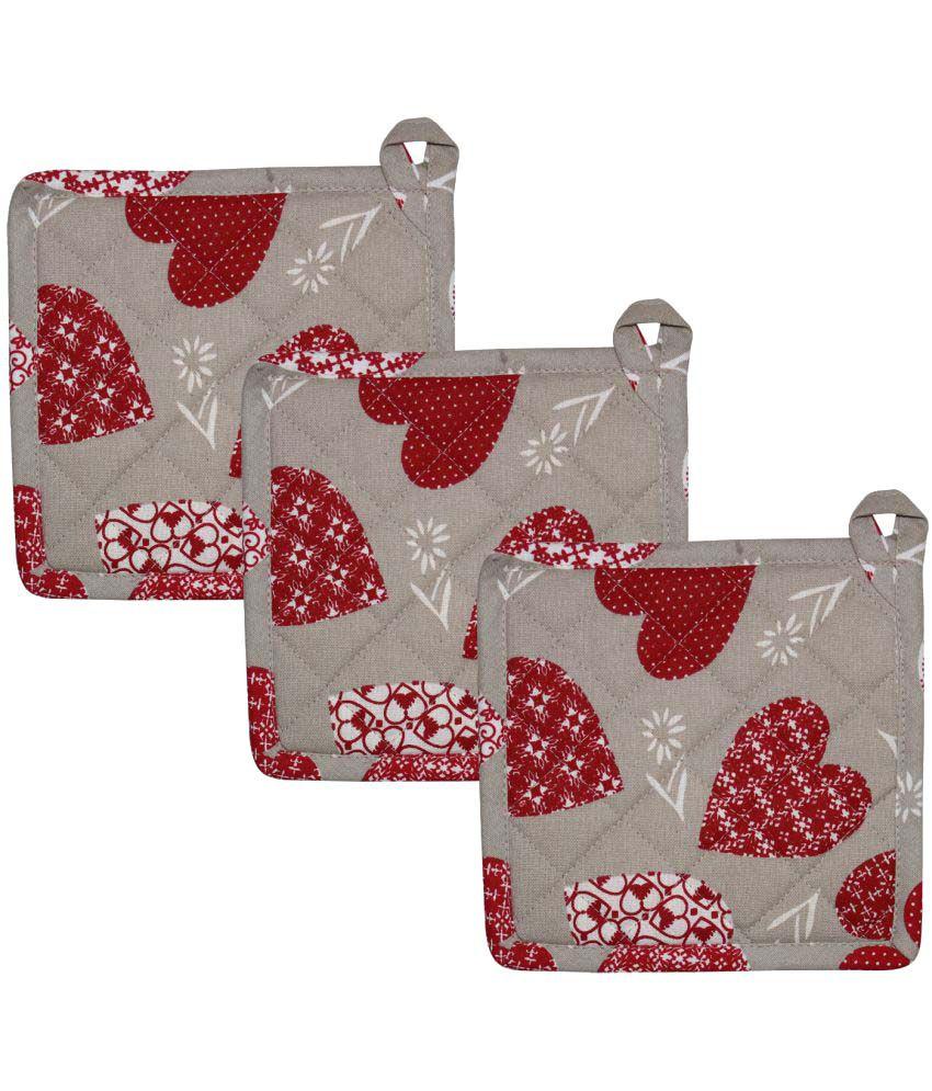 Airwill, Cotton Designer Kitchen Linen Set of Oven Pot Holders - Pack of 3 pcs