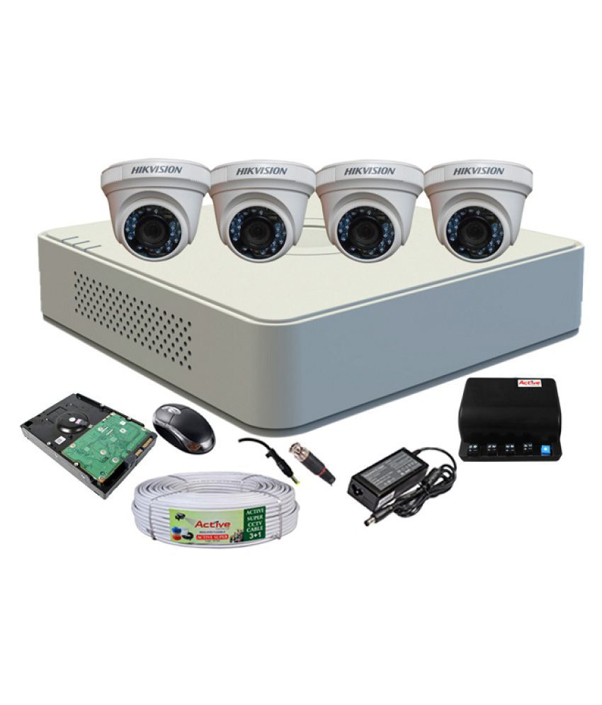 Hikvision 4CH DVR 1Pcs, Dome Camera 4Pcs, Mouse, 1TB HDD , BNC , Dc , Power Supply 1Pcs, Copper Cable 1Pcs. Surveillance Kit