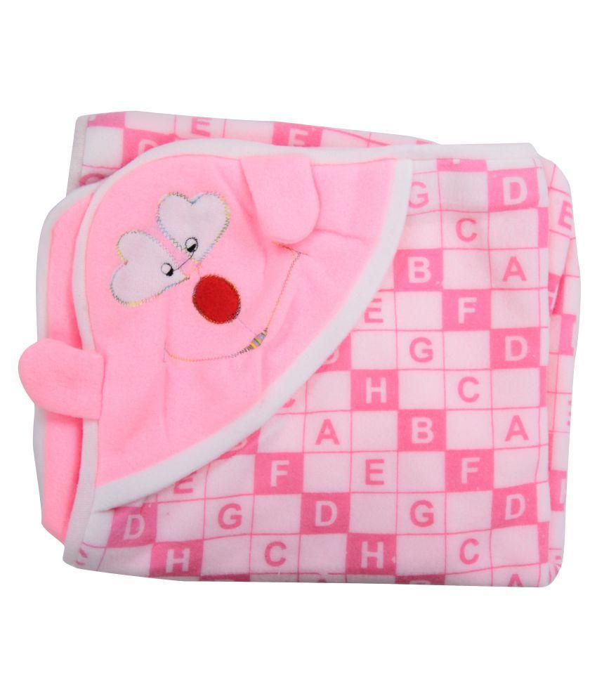 Joy Mart Pink Cotton Baby Wrap Cum Blanket ( 86 cm × 28 cm - 1 pcs)