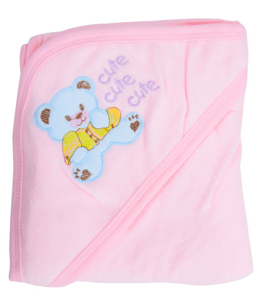 Joy Mart Pink Cotton Baby Wrap cum blanket ( 34 cm × 80 cm - 1 pcs)