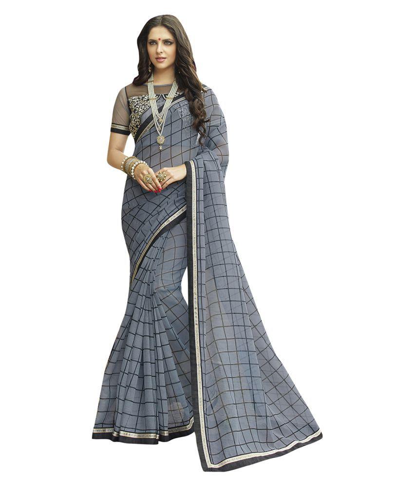 Shaily Retails Grey Cotton Blend Saree