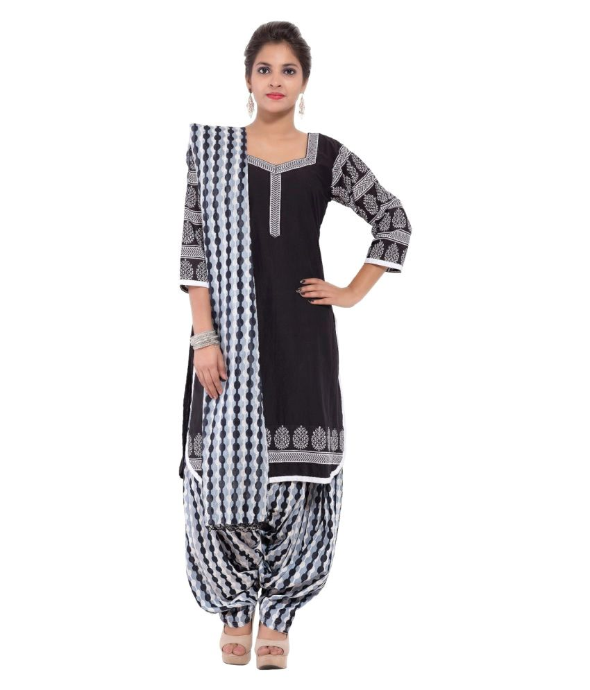 Lamizor Ethnic Wear Black Cotton Straight Stitched Suit