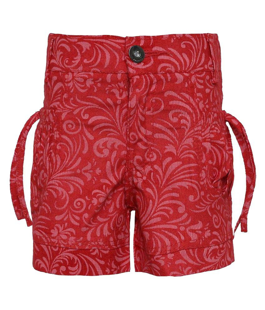 Punkster Red Cotton Bermudas Stretchable For Girls