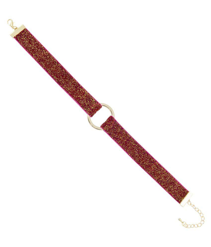 Sarah Valentine Day Special Fabric Coil with Sparkle Velvet Strip Choker Necklace for Women - Red