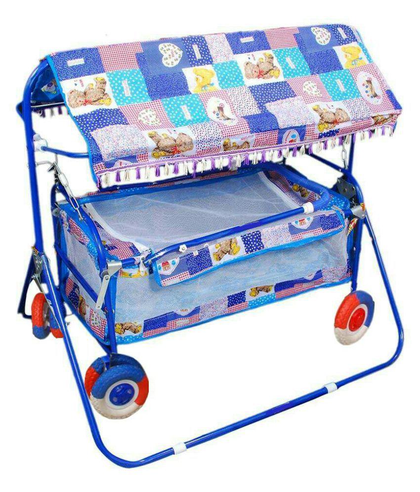 Shivaay Trading Eva Wheel Blue Baby Cradle Cum Cot Cum Stroller with Hood.