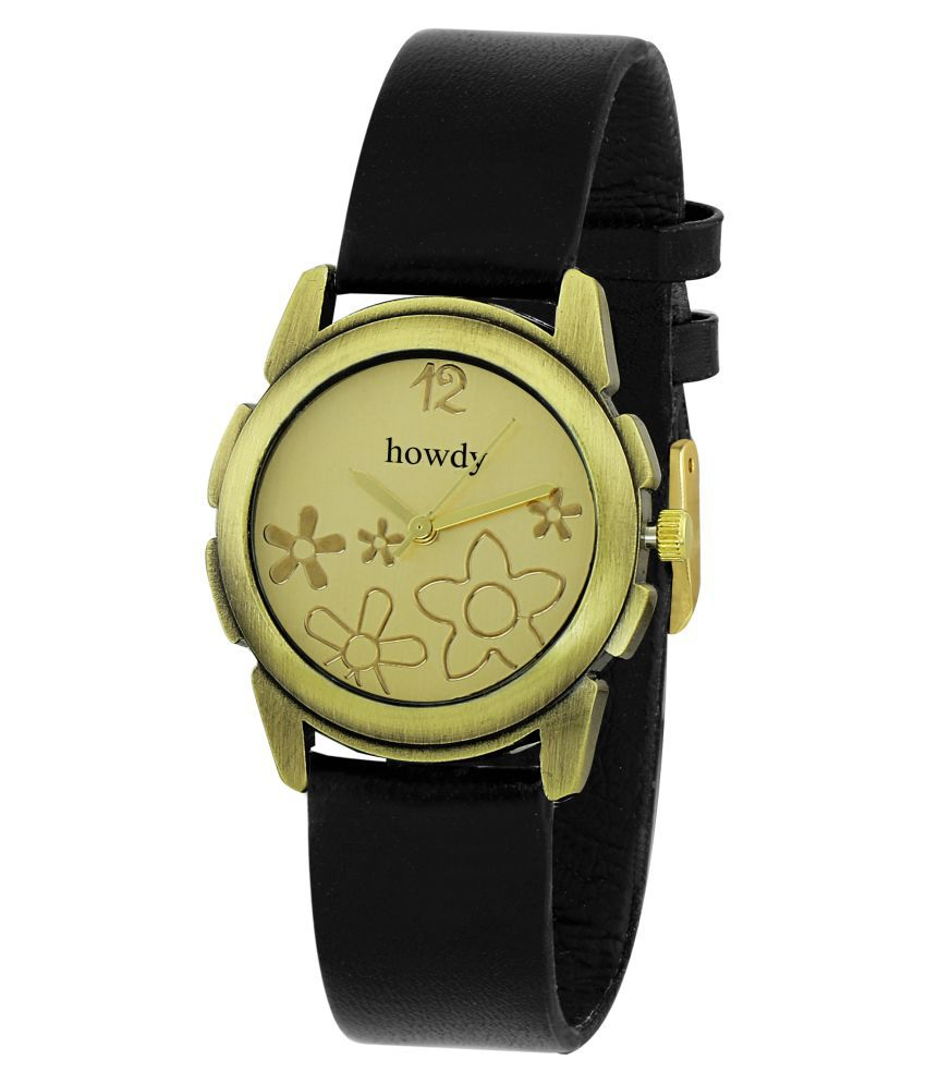 Howdy Black Leather Strap Analog Watch for Women