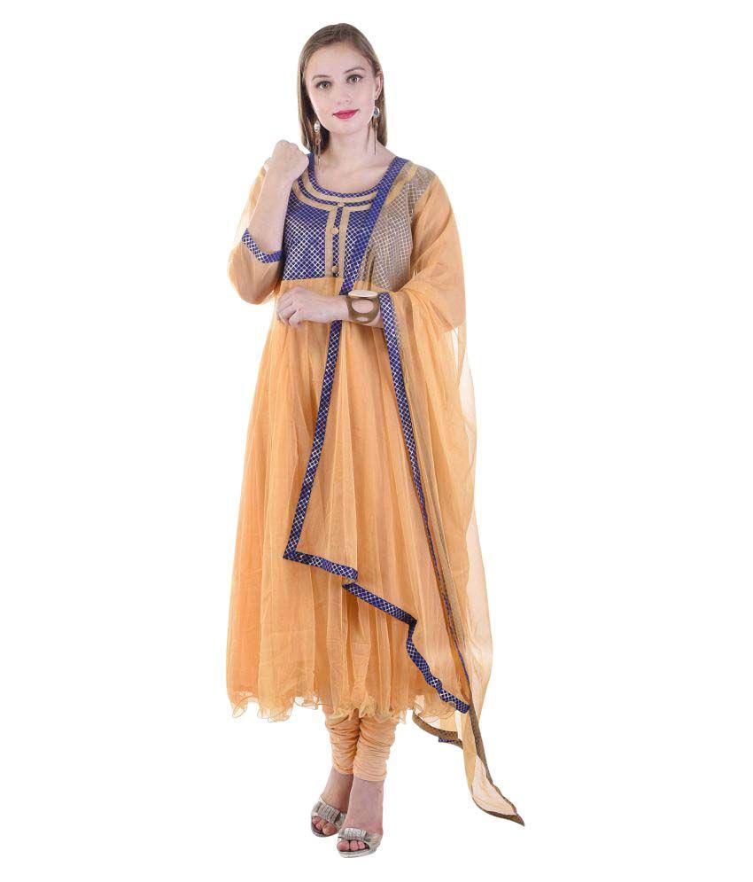 Aavaya Fashion Multicoloured Net Anarkali Stitched Suit