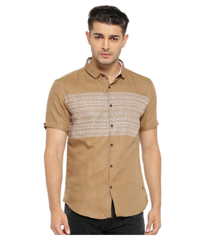 Showoff Khaki Casuals Slim Fit Shirt