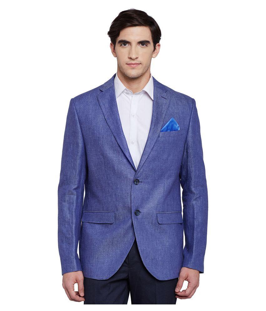 Envoy Blue Plain Casual Blazers