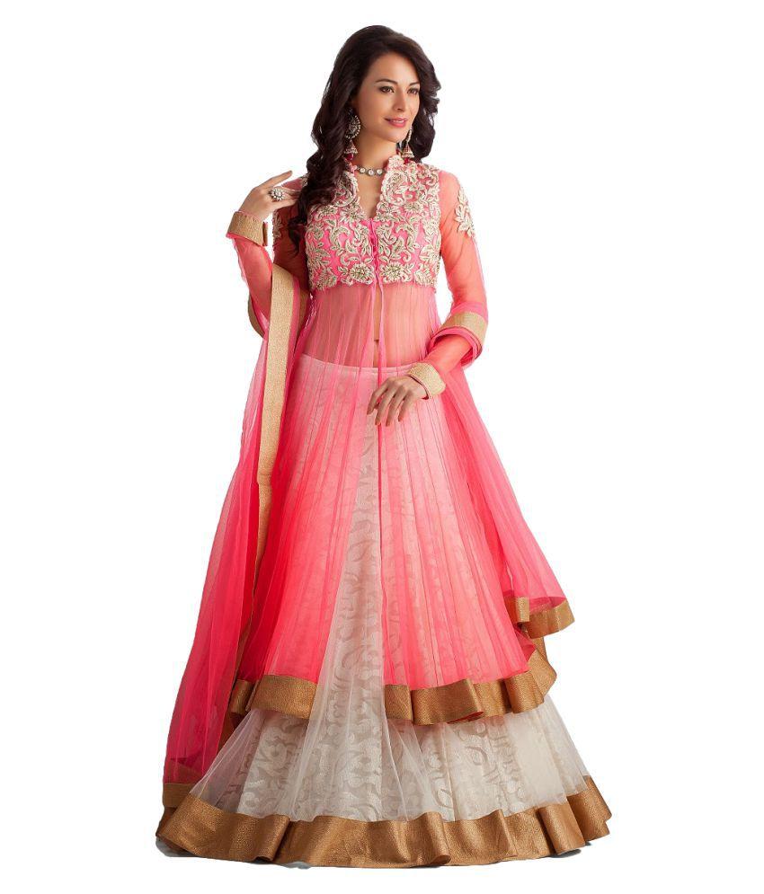 Prabhat Silk Mills Pink Net Straight Semi-Stitched Suit