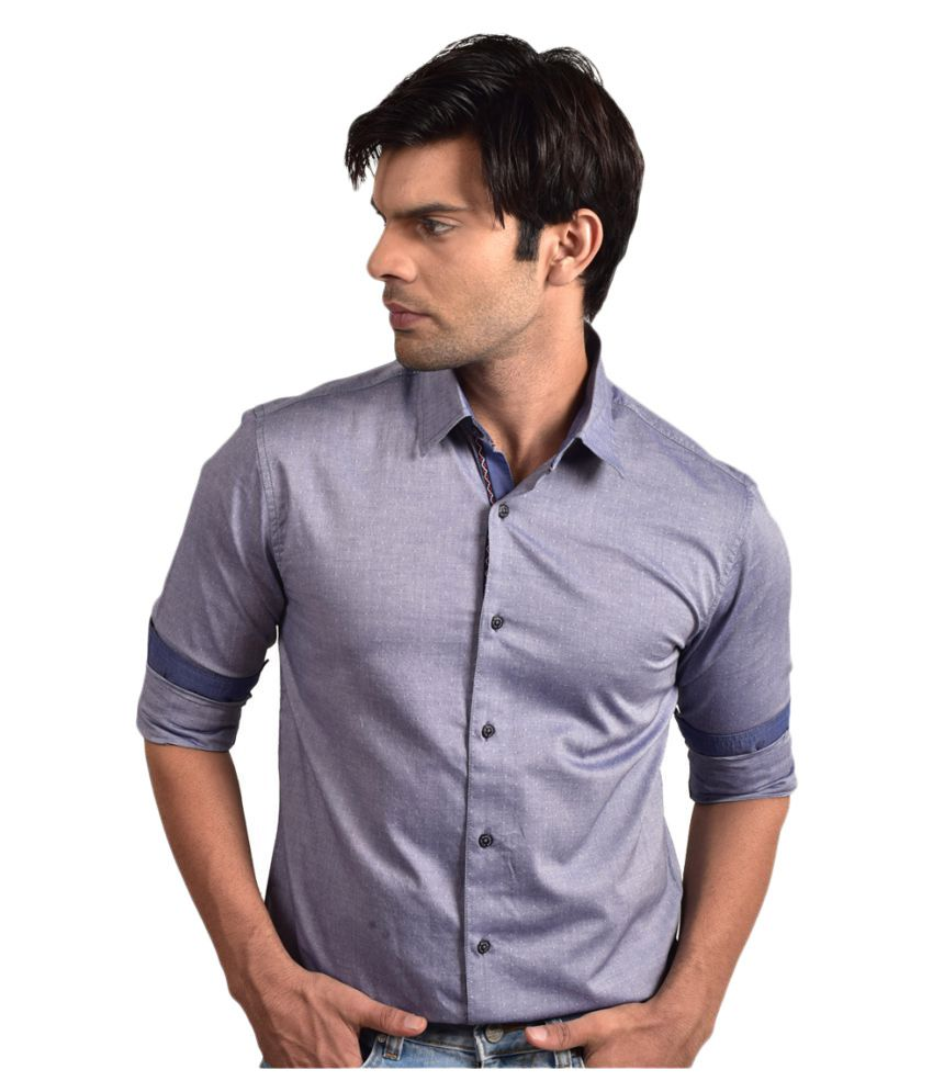 Bluvior Blue Casuals Slim Fit Shirt