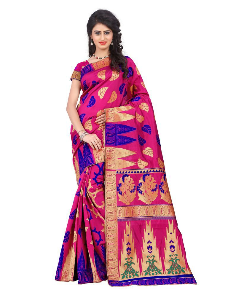 A And V Fashion Pink Silk Saree