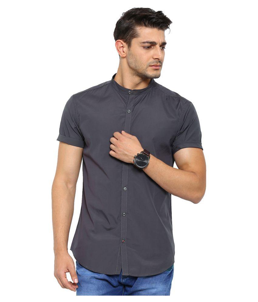 Showoff Grey Casuals Slim Fit Shirt