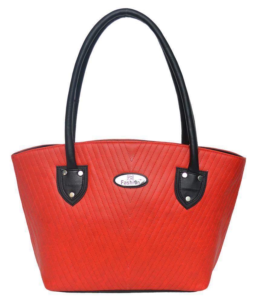FD Fashion Red Artificial Leather Shoulder Bag