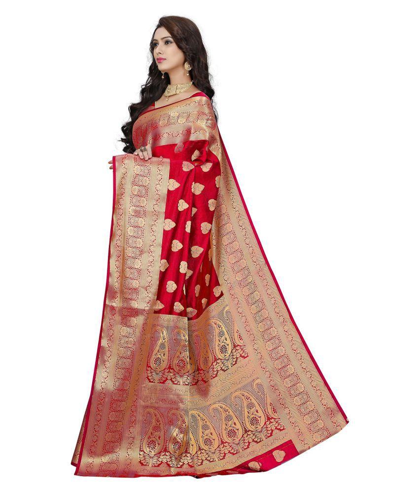 3d2b19fc70 Monjolika Red and Beige Banarasi Silk Saree - Buy Monjolika Red and ...