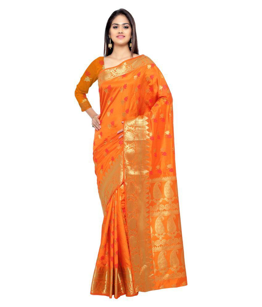 Bhuwal fashion Orange Banarasi Silk Saree