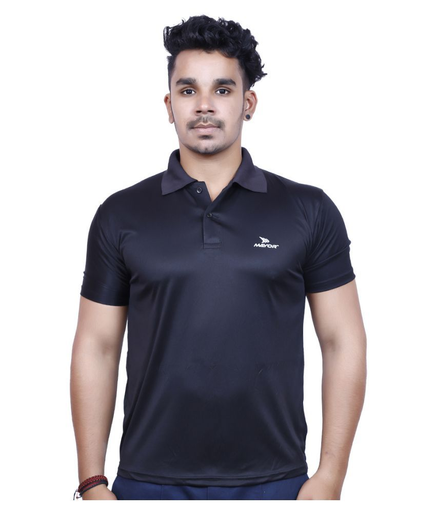 Mayor Black Polyester Polo T-shirt