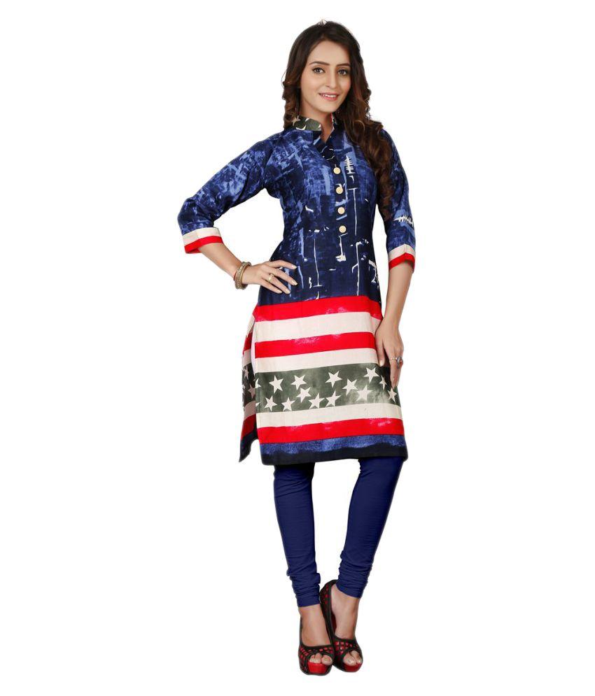Fashionsurat Multicoloured Cotton Straight Kurti