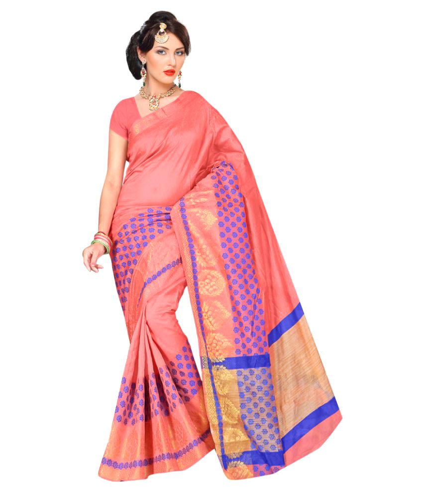 Aagaman Fashions Pink Art Silk Saree