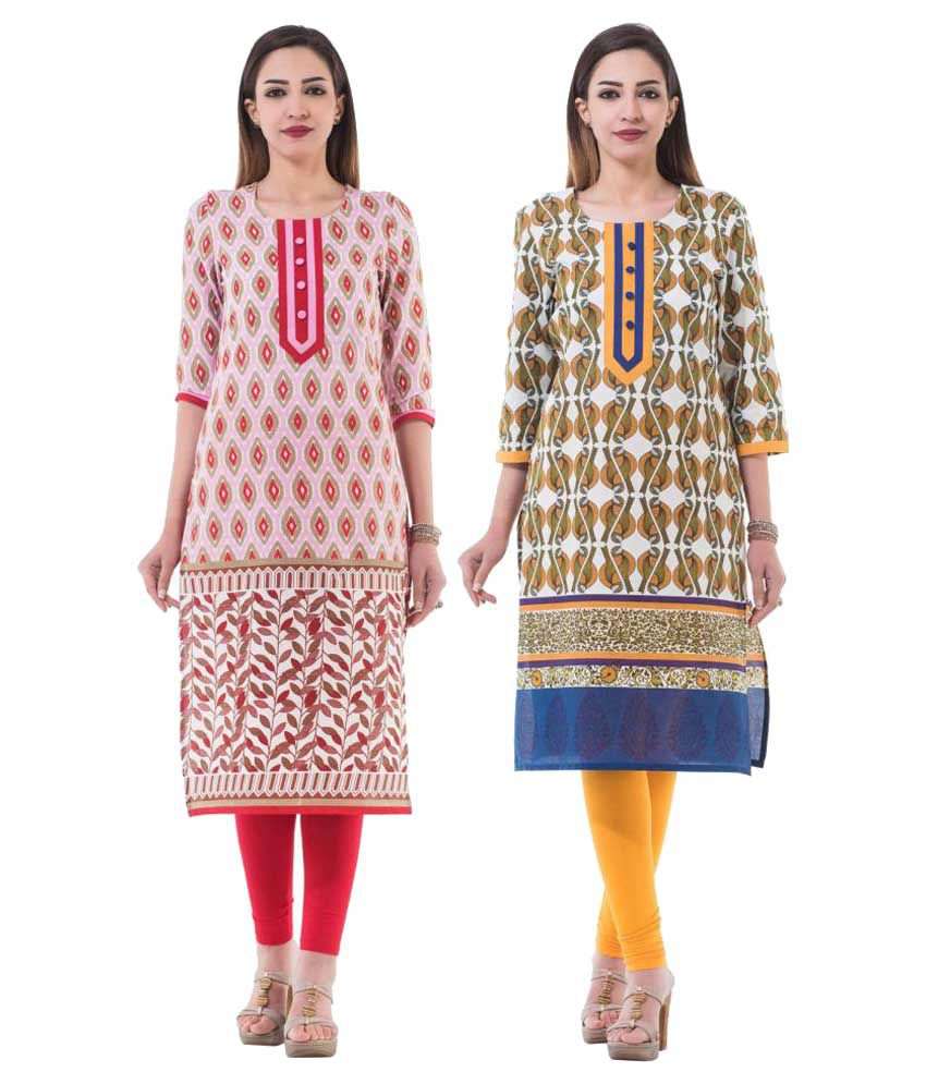 IRA Multicoloured Cotton Straight Kurti