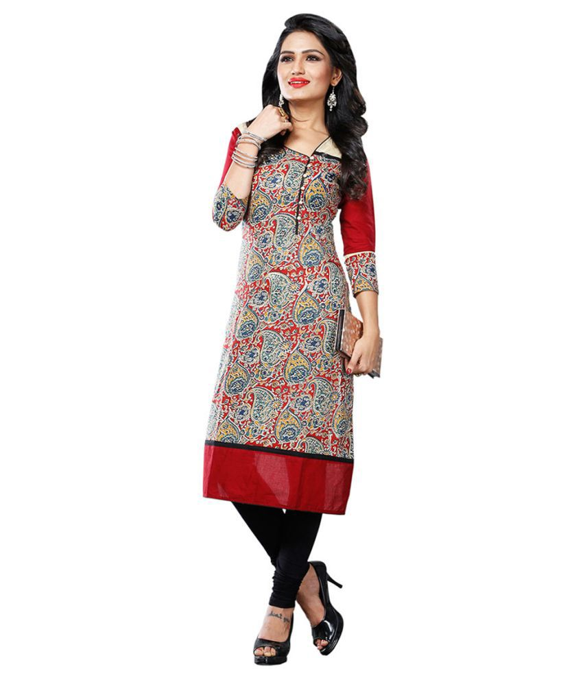 Swanvi Multicoloured Cotton Straight Kurti