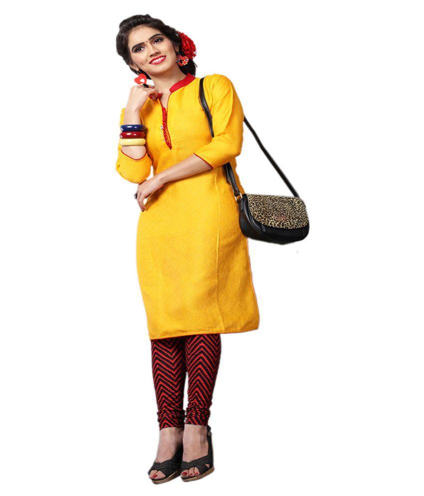 Swanvi Yellow Cotton Straight Kurti