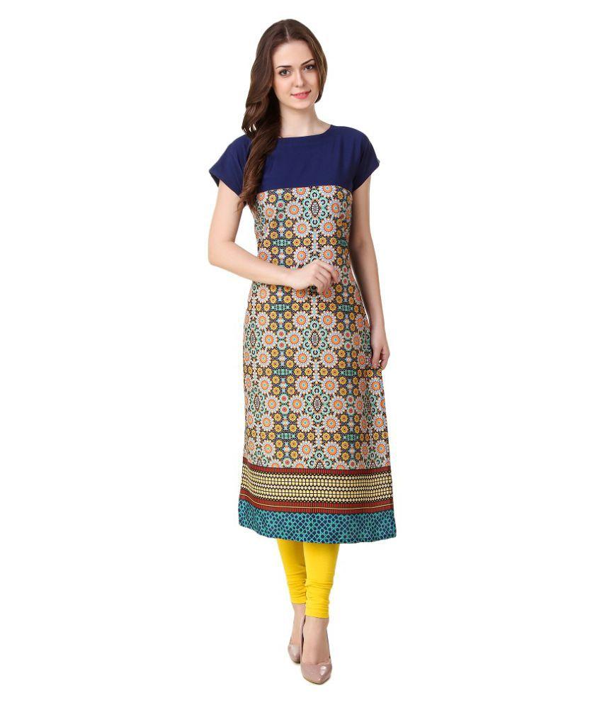 Tithi Fashion Multicoloured Crepe A-line Kurti