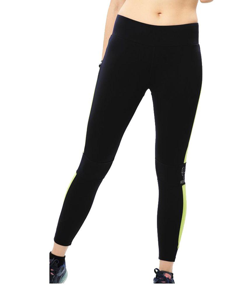 Restless Black Green Lycra Active Wear