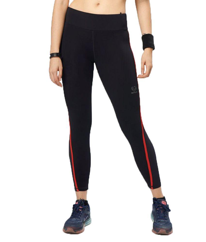 Restless Black Red Lycra Active Wear