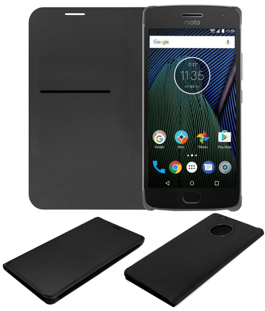 new styles f58ab c0304 Moto G5 Plus Flip Cover by ACM - Black
