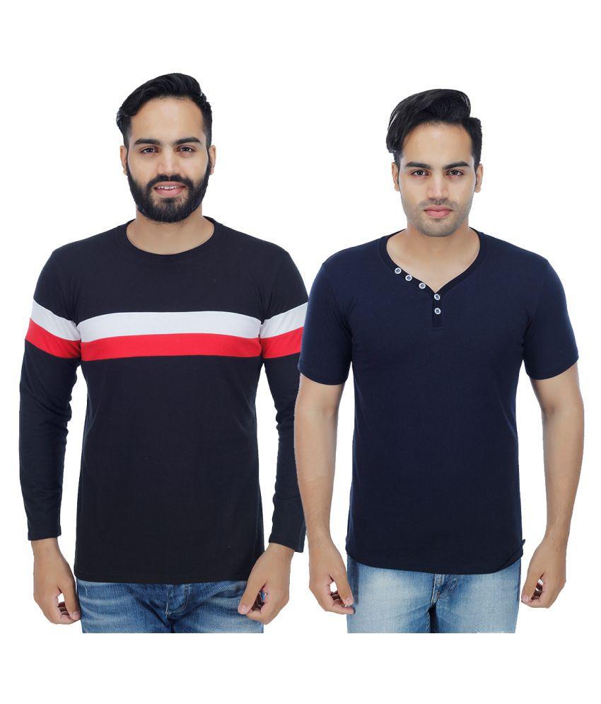 Rakshita's Collection Navy Round T-Shirt Pack of 2