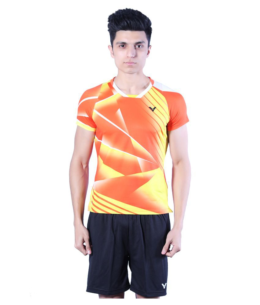Victor Orange Polyester T Shirt