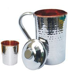 Veda Home & Lifestyle VEDA COPPER JUG SET 2 Pcs Jug And Glass Combo
