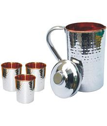 Veda Home & Lifestyle VEDA COPPER JUG SET 4 Pcs Jug And Glass Combo