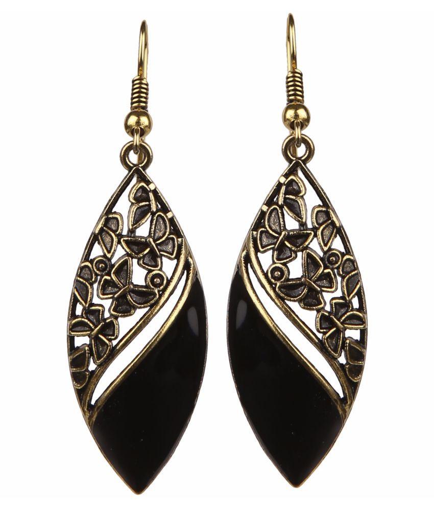 Archi Collection Oxidised Black Fancy Party Wear Drop Earrings for Girls