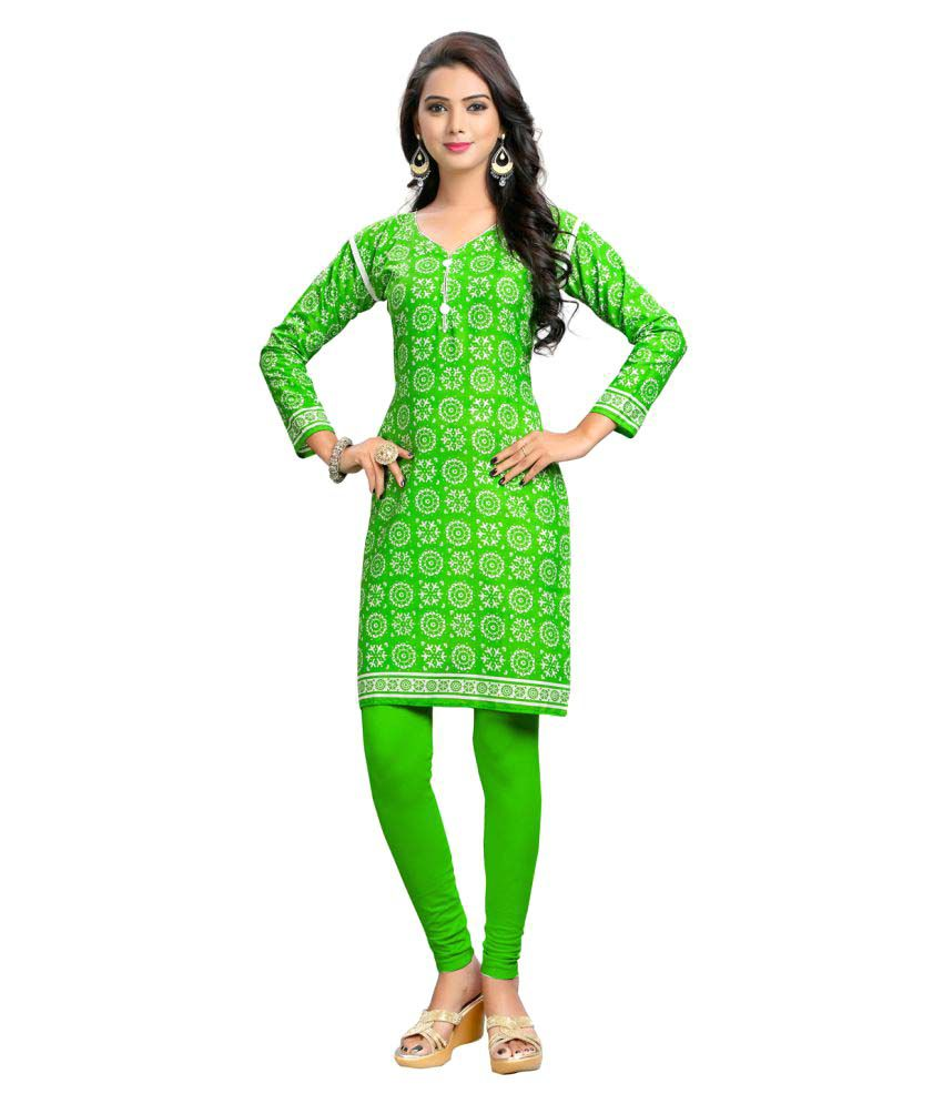 Bunny Sarees Green Cotton Straight Kurti