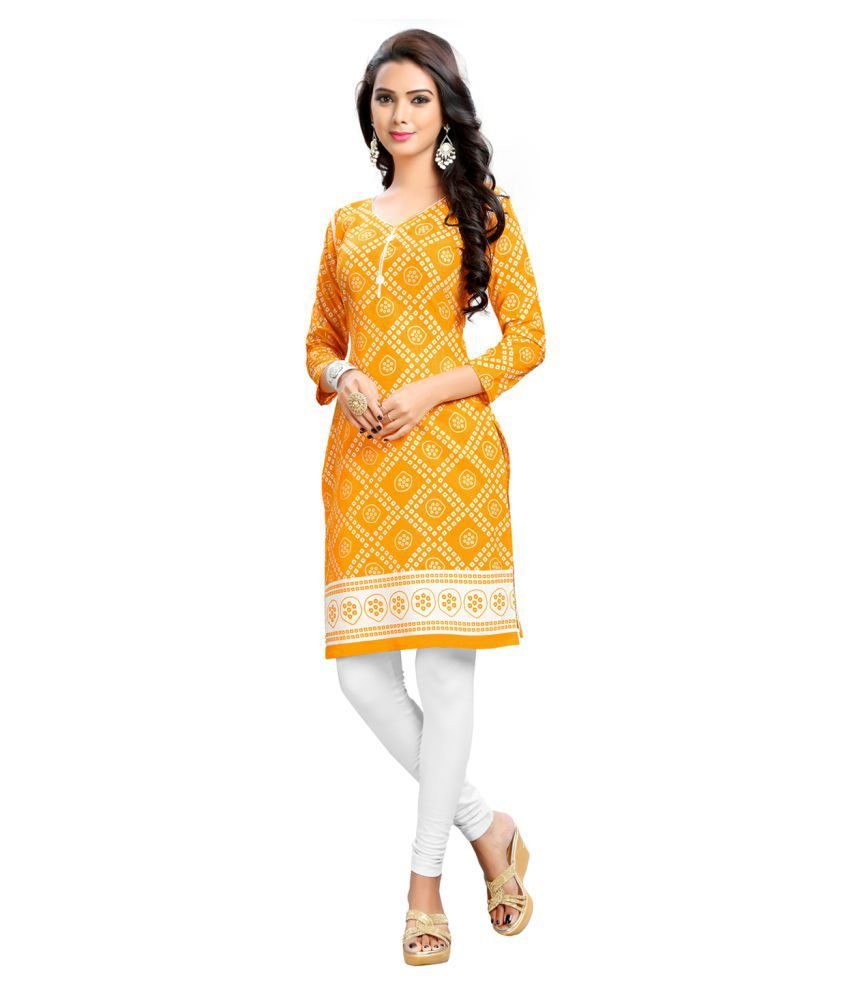 Bunny Sarees Yellow Cotton Straight Kurti