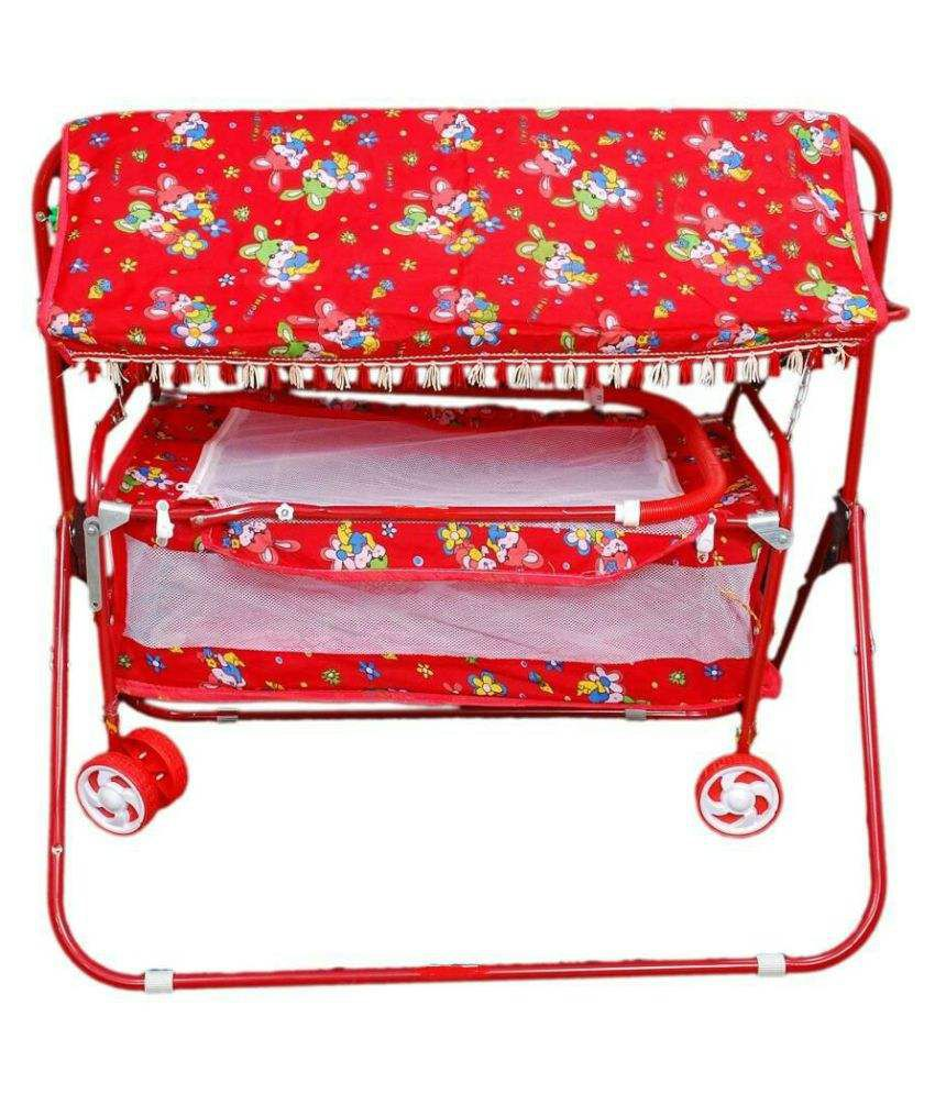 Shivaay Trading Co Red Baby Bassinet Cum Cot Cum Stroller With Hood.