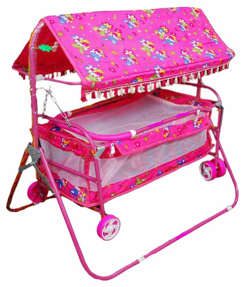 Shivaay Trading Co. Pink Baby Cradle Cum Cot Cum Stroller With Hood.