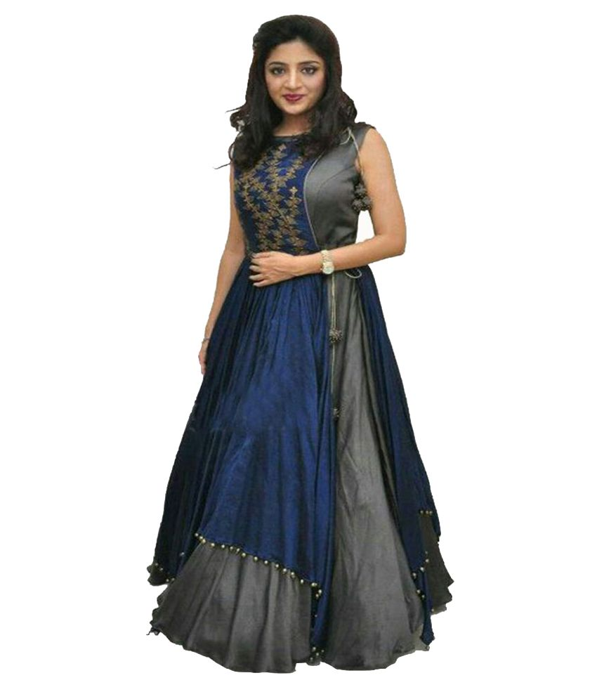Shreenathji Enterprise Blue Silk Anarkali Gown Semi-Stitched Suit