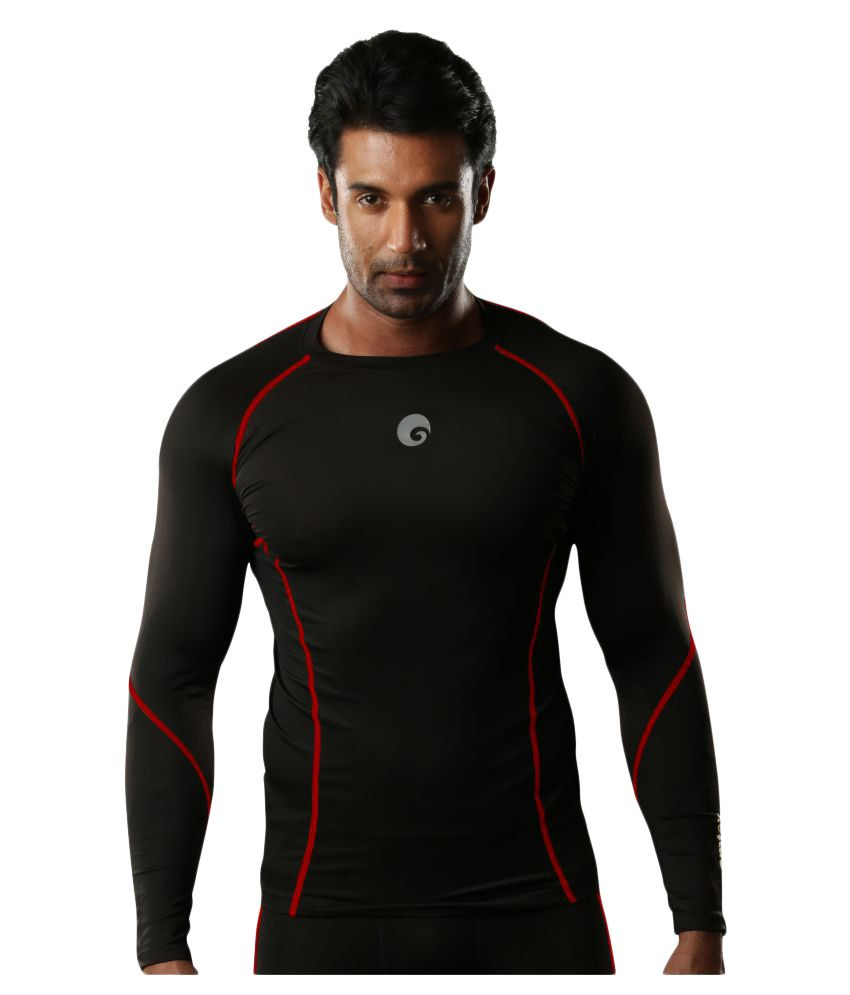 Omtex Red Polyster Full Sleeves Compression Top