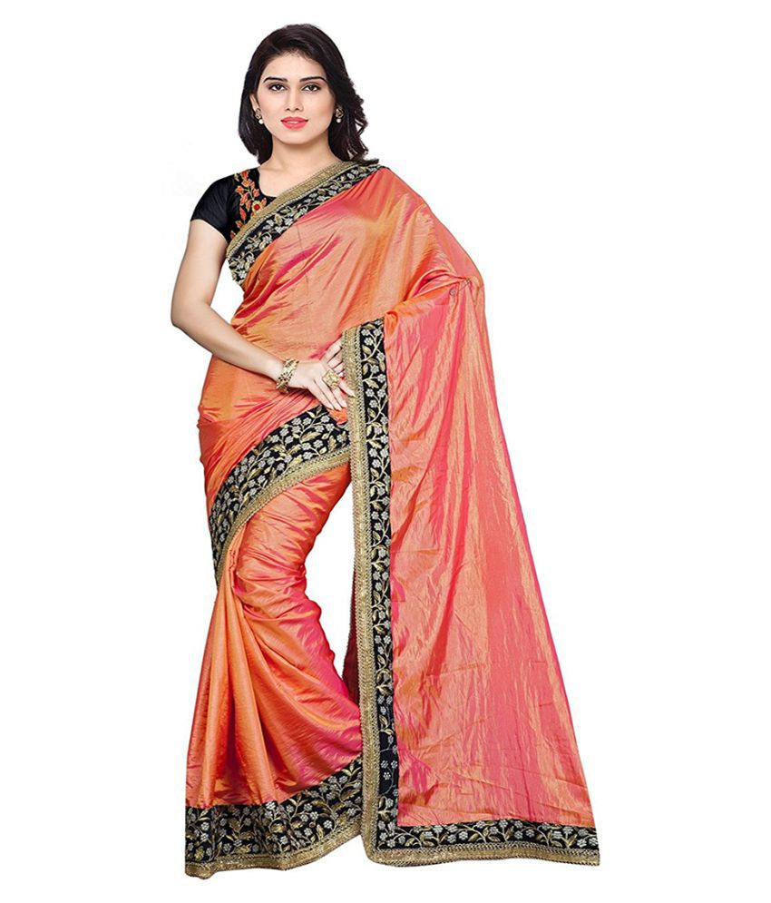 9e5bf308aa Rudra Fashion Pink and Orange Silk Saree - Buy Rudra Fashion Pink and  Orange Silk Saree Online at Low Price - Snapdeal.com