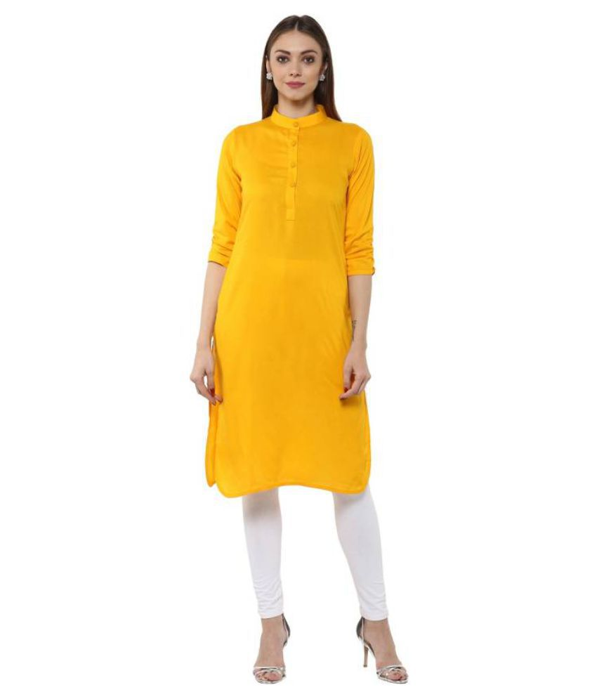 Glance Yellow Cotton Straight Kurti