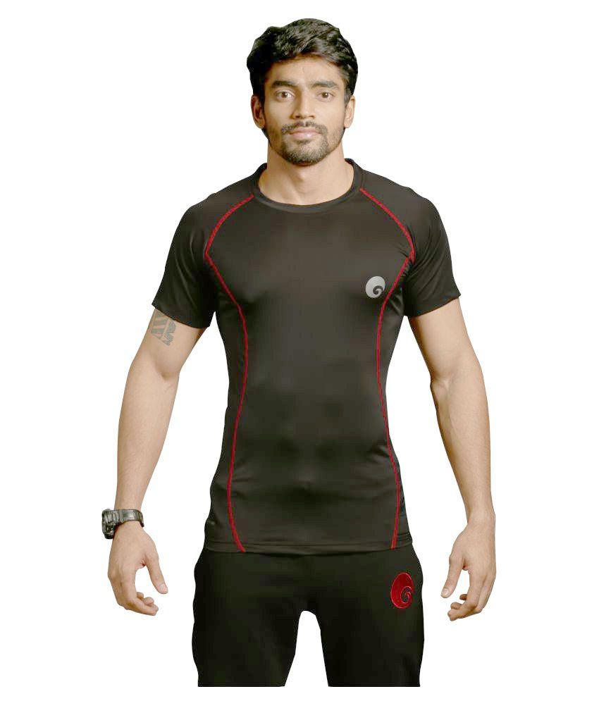 Omtex Red Polyester Half Sleeves Compression T-Shirt