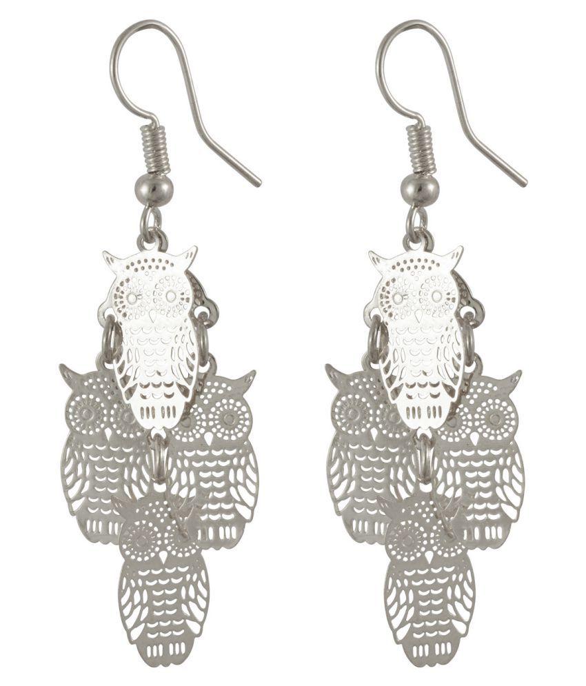 Sarah Owl Shaped Filigree Silver Color Hanging Earrings