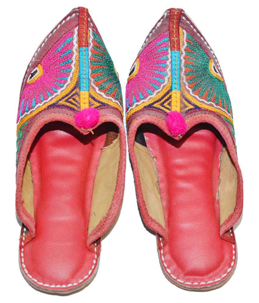 The Rajasthali Multi Color Flat Ethnic Footwear
