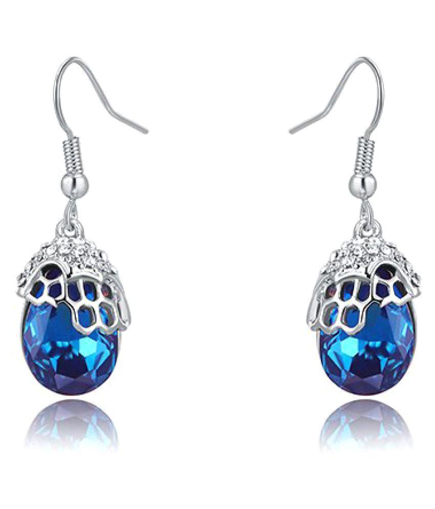 Silver Shoppee Rhodium Plated Swarovski Studded Blue Coloured Earrings