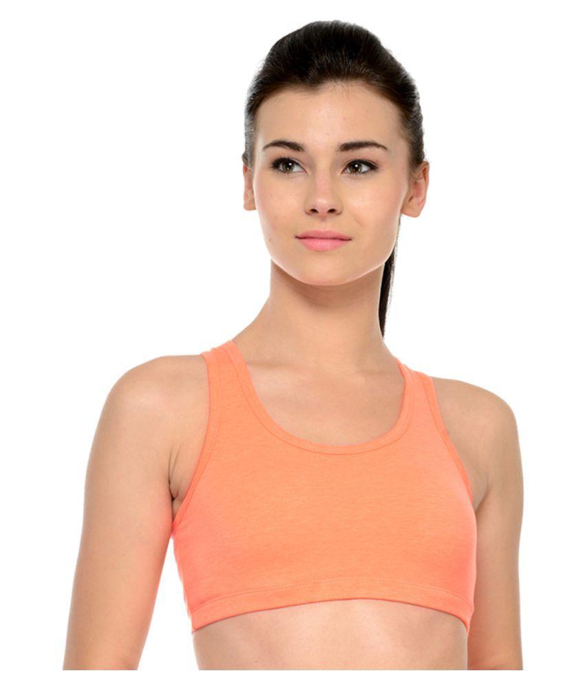Restless Orange Cotton Sports Bra