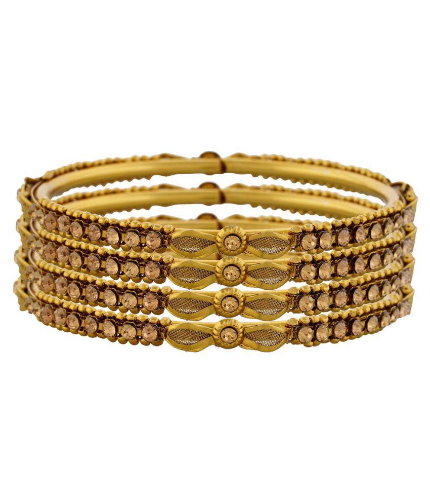 Saaro Trendy Alloy Golden Bangle - Pack of 4